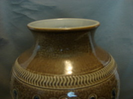 "German Remi and Marzi .Brown / Blue Leaf Motif ""Sgraffito""  Vase - $25.00"
