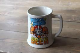 Vintage Beer Steins Wallace Berrie 1982 Football Make Mine Beer Mug Glass - £21.59 GBP