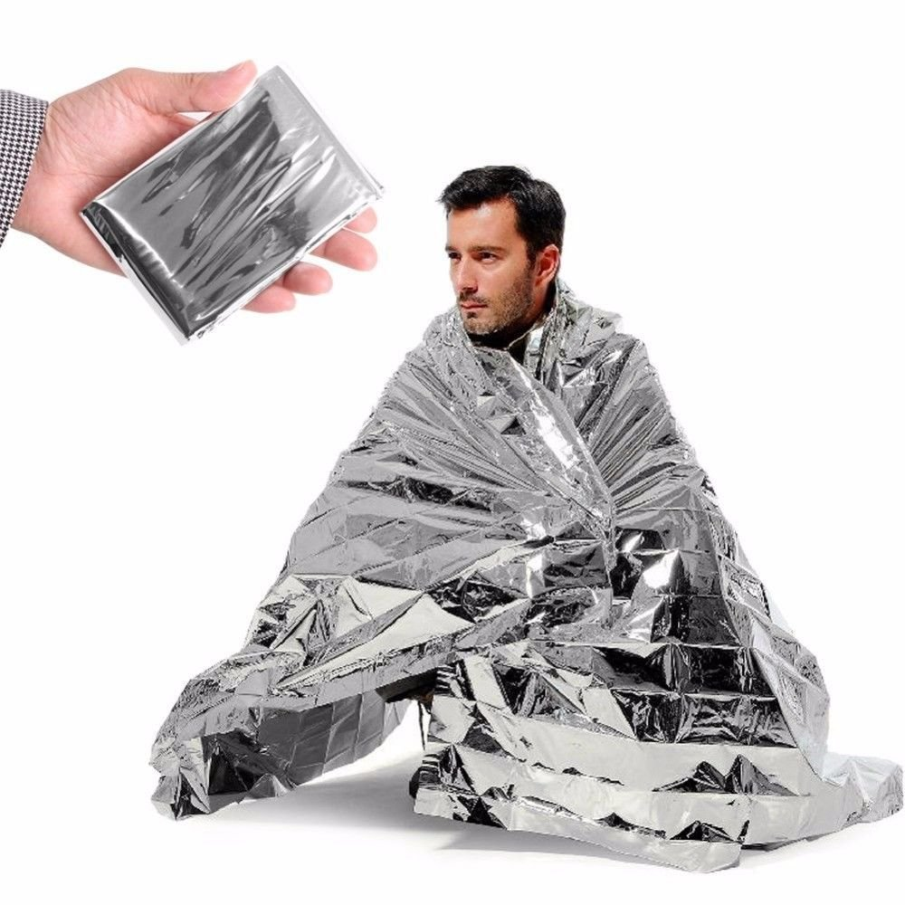 Poket Size Silver Outdoor Emergency Survival Camping Warm Blanket - One Item