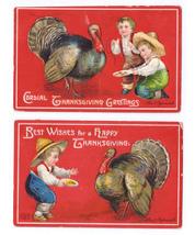 2 Clapsaddle Thanksgiving Postcards Boys Feeding Turkey Vintage Embossed  - $4.99