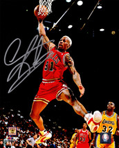 Dennis Rodman Signed Chicago Bulls Rebounding Action 8x10 Photo - £61.12 GBP