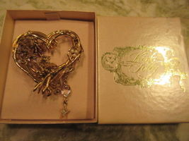 KIRK'S FOLLY Heart Brooch Pixie Fairy Pin Wisteria Angel - Vintage - wit... - $65.00