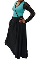 DBG Women's Turquoise Polyester Long Sleeves Lace Maxi -5X - $42.56