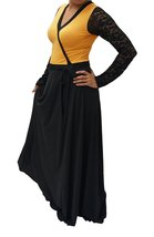DBG Women's Mustard Polyester Long Sleeves Lace Maxi -5X - $42.56