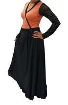 DBG Women's Orange R Polyester Long Sleeves Lace Maxi Dress-Extra Small - $37.61