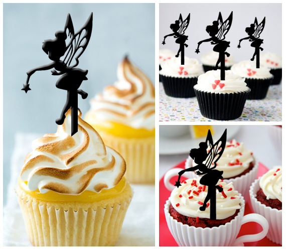 Ca215 Birthday Cake topper,Cupcake topper,silhouette tinkerbell Package : 11 pcs