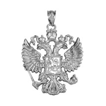 Sterling Silver Russian Coat of Arms Double-Headed Eagle Slavic Crest Pe... - $29.99