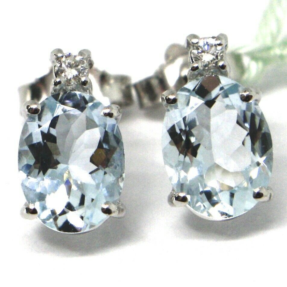 18K WHITE GOLD AQUAMARINE EARRINGS 2.50 CARATS, OVAL CUT, DIAMONDS, ITALY MADE