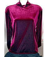Mock Turtleneck Shirt Maroon Velveteen Shirt XL... - $12.00