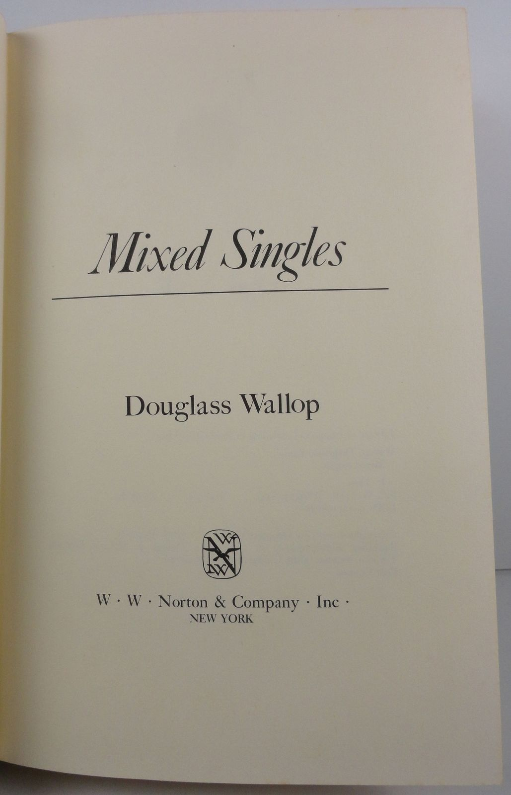 Mixed Singles by Douglass Wallop 1977 Norton HC/DJ