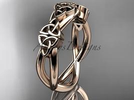 Unique wedding band, 14kt rose gold celtic trinity knot wedd - $585.00