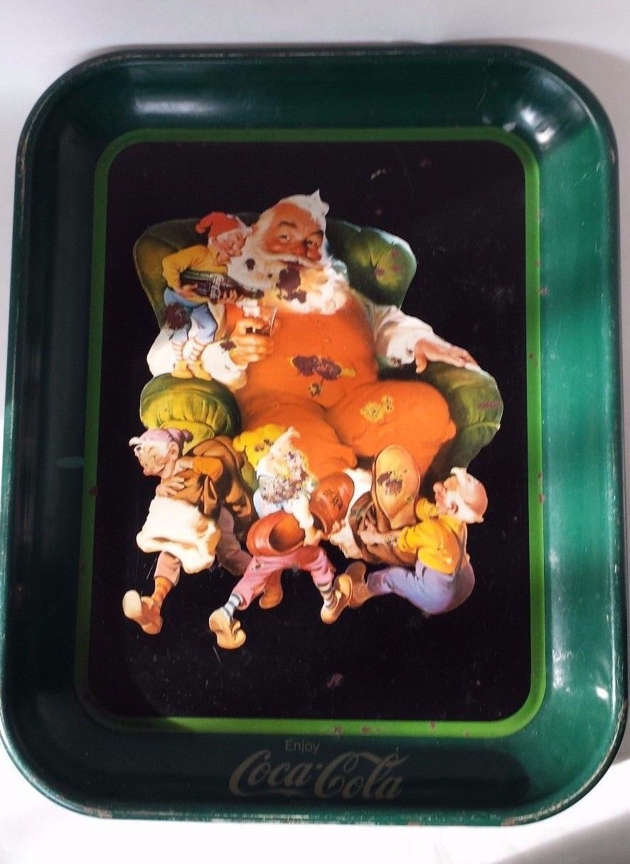 "Primary image for Vintage 13x10.5"" Coca Cola Metal Tray 1920's  Santa Claus Holding Coke Glass"