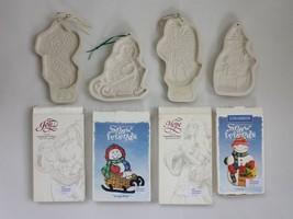 LOT 1994-98 vintage 4pc LONGABERGER POTTERY COOKIE MOLDS angel snowman s... - $32.50
