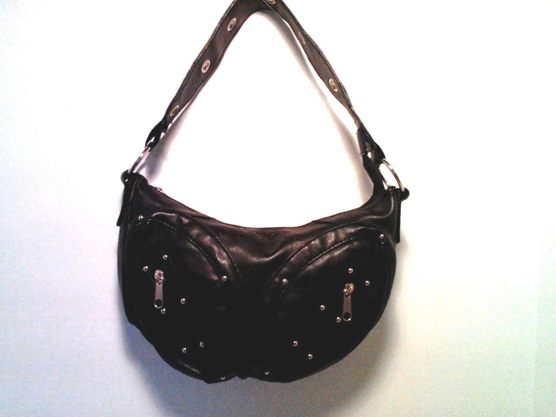 HARLEY DAVIDSON Embossed Black PVC Shoulder Bag/Handbag/Purse w/Silver Studs~EUC