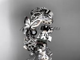 platinum  diamond celtic trinity knot butterfly wedding band, engagement r - $2,050.00
