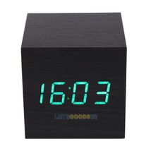 LS4G Modern Wooden Digital Desk Black Alarm Clock Green LED Thermometer - $19.75