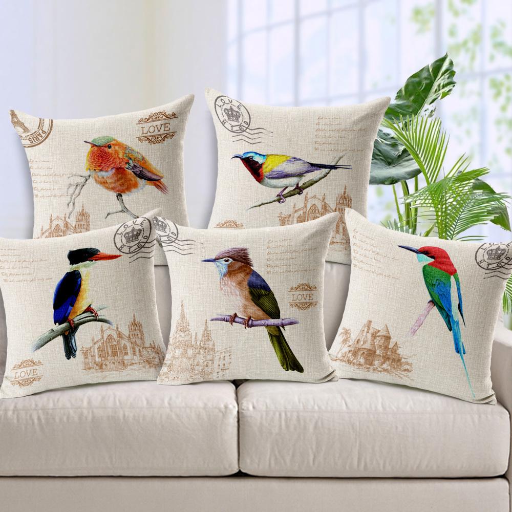 Retro Bird Home Decor Pillow Hand Painted Parrot Linen