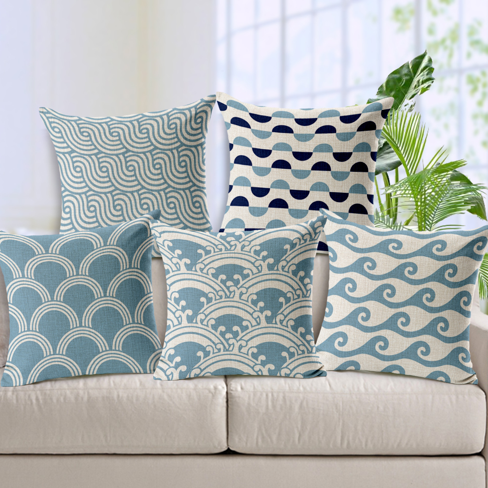 Light Blue Chevron Linen Cotton Cushion Wave Pattern Home