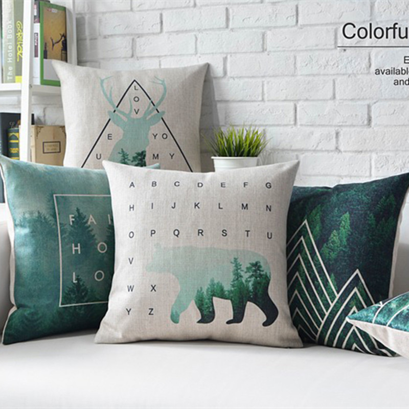 Nordic styles forest and bear home decor pillow flamingos for Bear home decorations