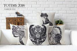 Indians Totem Wolf ,Owl ,Parrot Linen Cotton Pi... - $24.21