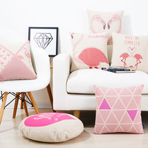 Pink Flamingos Linen cotton pillow Chevron sofa... - $24.21
