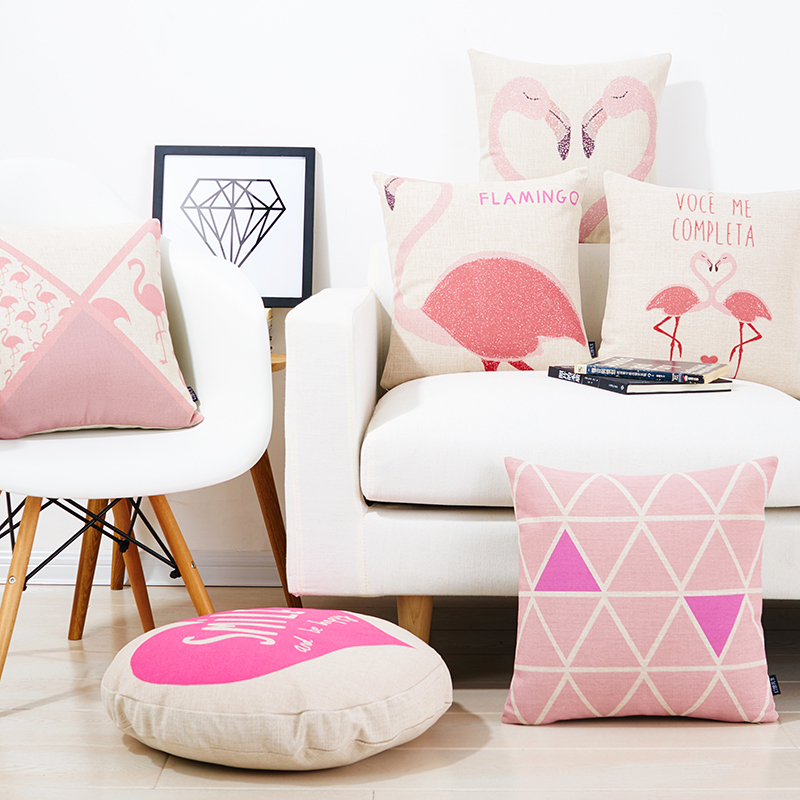 Pink Linen Throw Pillow : Pink Flamingos Linen cotton pillow Chevron sofa cushions decorative Throw Pillow - Pillows