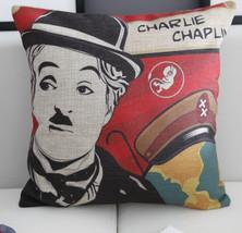 Charlie Chaplin Home Decor cushion Linen cotton... - $25.55