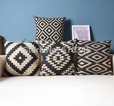 Black Geometric Home Decor cushion Linen cotton... - $25.55
