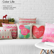 Pink Heart Chevron Home Decor Pillow Linen Cott... - $24.21