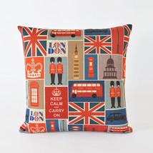 Bopo Union Jack Home Decor cushion Linen cotton... - $26.90