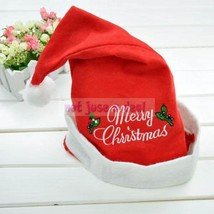 Merry Christmas Costume Santa Claus Party Happy Adult Hat Cap White Rim ... - $8.29