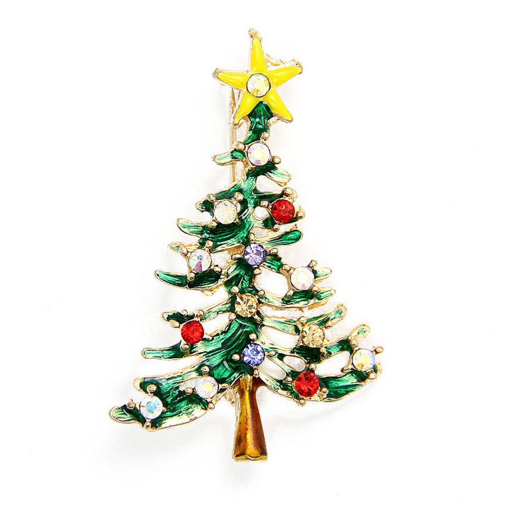 Snowman Christmas Cute Tree Brooch Pins Crystal Rhinestone