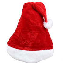 Santa Claus Hat Plush Velvet Christmas Xmas Holiday Adult Costume u6822 - $8.96