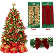 12PCS Christmas Bow Tree Hanging Decoration Baubles Merry XMAS Year Part... - $8.58