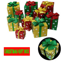 Christmas decorations supply 3D square gift box home Marketwindow Orname... - $13.89