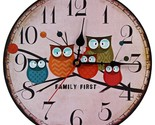 Etro wooden wall clock owl vintage rustic shabby chic round clock home office cafe thumb155 crop