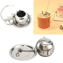 Stainless Steel Loose Teapot Shape Tea Leaf Infuser With Tray Spice Drin... - $9.66