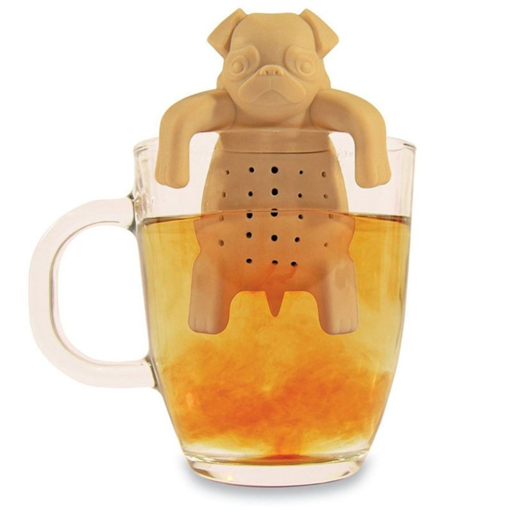 1piece lovely tea strainers pug in a mug silicone tea infuser kawai portable dog tea strainers