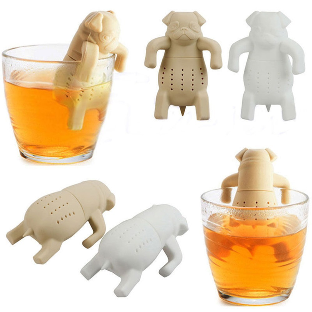 1Piece Tea Strainers Pug In A Mug Silicone Tea Infuser Kawai Portable Dog Tea St