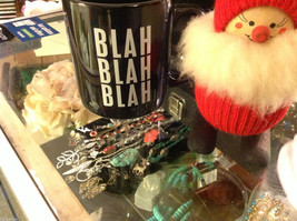 Ceramic Black Coffee Mug with Blah Blah Blah message on front