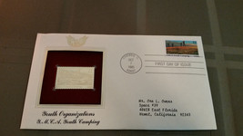 1 First Day Issue Gold Plated Stamps Youth Organization YMCA 1985 - $2.99