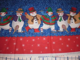 2003 Fabric Traditions Glitter Snowman Double Border Fabric Christmas 34... - $19.95