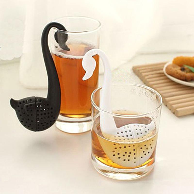 Ander beautiful black white swan tea strainer eco friendly nontoxic tea filter daily necessities