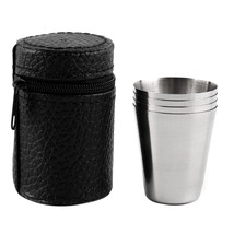 1 Set of 4 Stainless Steel 30ML 70ML 180ML Camping Cup Mug Drinking Coff... - $13.04