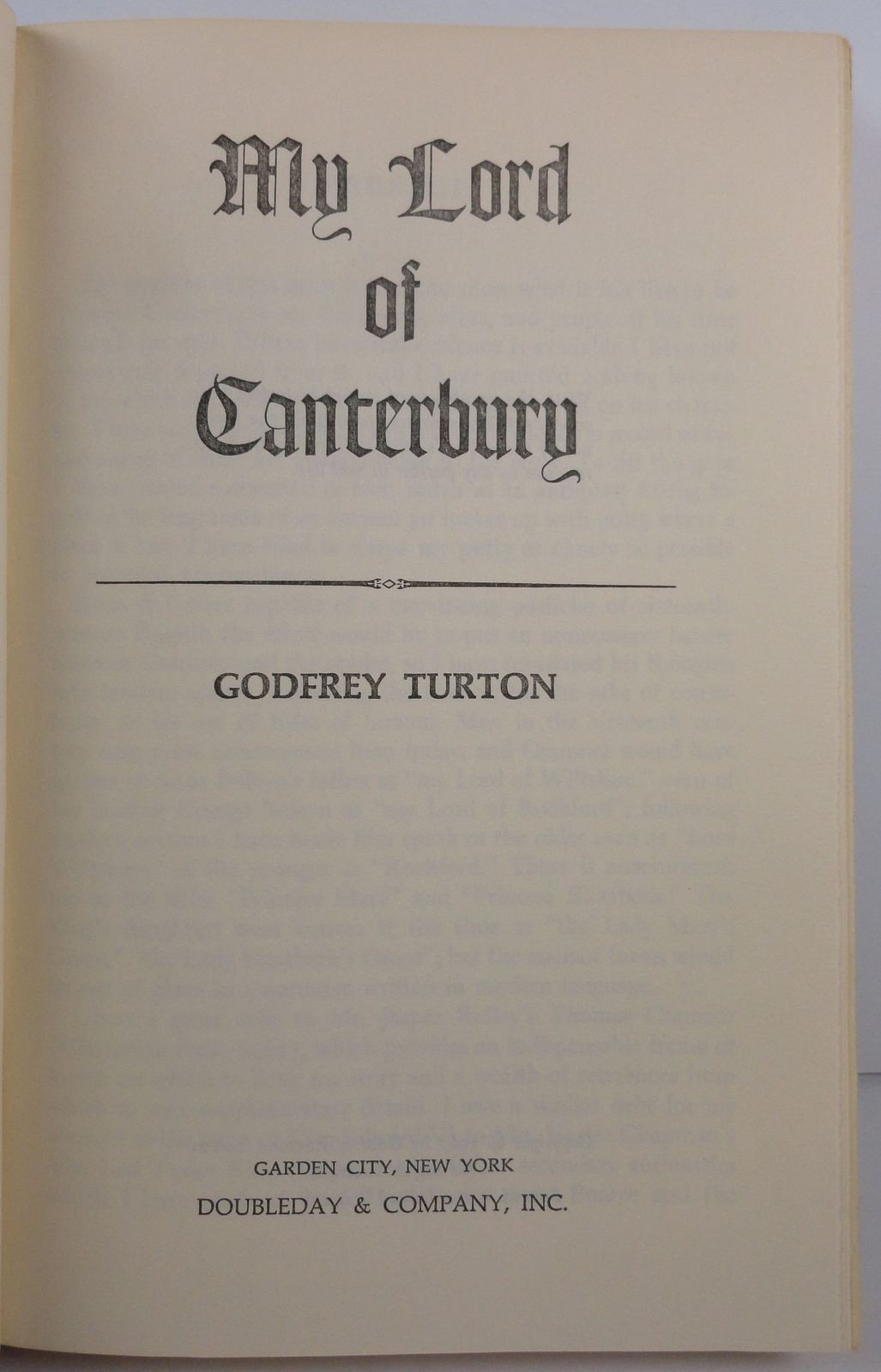 My Lord of Canterbury by Godfrey Turton 1967 Doubleday HC/DJ