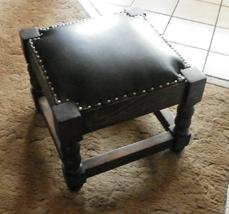 Pine Black Leather Footstool / Stool  (JLC-ST38) - $239.78