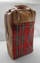 Vintage Tan/Red Plaid Thermos Picnic/Travel Set:Thermos,Sandwich Box,Zip Top Bag - $21.80