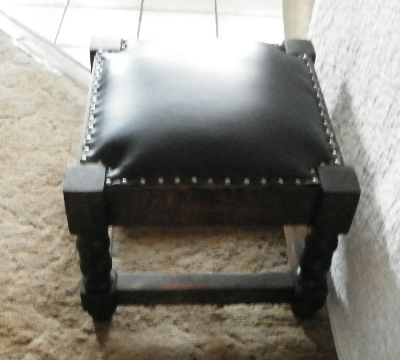 Pine Black Leather Footstool / Stool  (JLC-ST38)