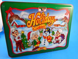 """1997 KEEBLER Holiday Cookies Tin 8 X 6 X 2"""" Snowman elves empty - $6.92"""