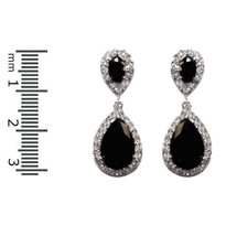 Pave & Solitaire Halo Clear & Black Cubic Zirconia Dangle Earrings 31MM - $49.49